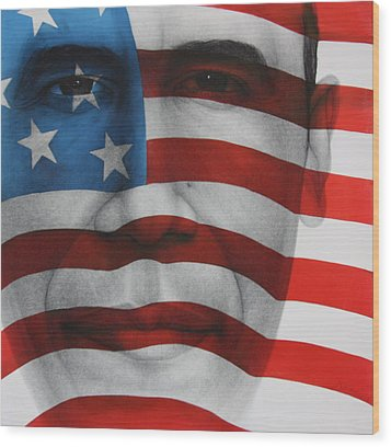 Red White And Blue Wood Print by Gary Kaemmer