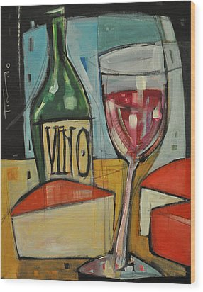 Red Wine And Cheese Wood Print by Tim Nyberg