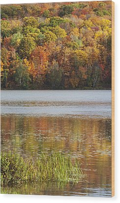 Reflection Of Autumn Colors In A Lake Wood Print by Susan Dykstra