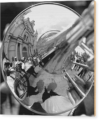Reflections In A Trombone Wood Print by Todd Fox