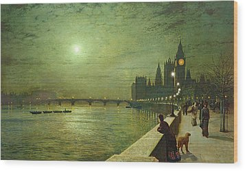 Reflections On The Thames Wood Print by John Atkinson Grimshaw