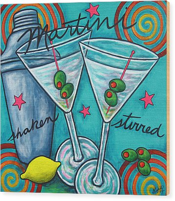 Retro Martini Wood Print by Lisa  Lorenz