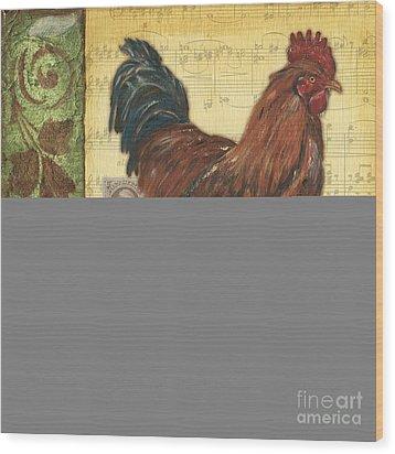 Retro Rooster 2 Wood Print by Debbie DeWitt