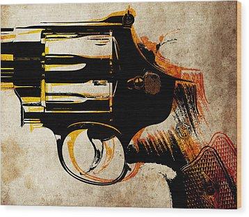 Revolver Trigger Wood Print by Michael Tompsett
