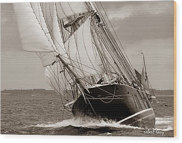 Riding The Wind -sepia Wood Print by Robert Lacy