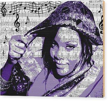 Rihanna Wood Print by Brad Scott