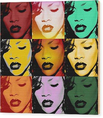 Rihanna Warhol By Gbs Wood Print by Anibal Diaz