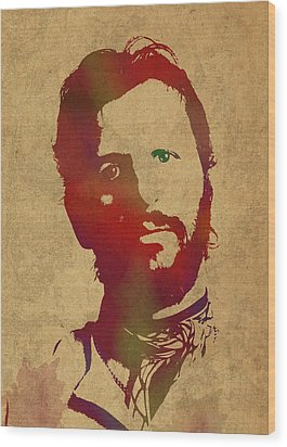 Ringo Starr Beatles Watercolor Portrait Wood Print by Design Turnpike