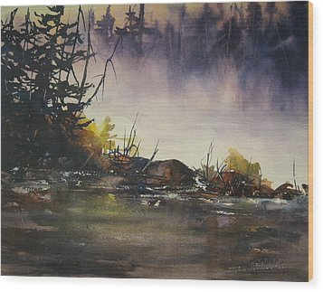 Rising Mist Wood Print by Madelaine Alter