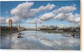 River Thames London Wood Print by Adrian Evans