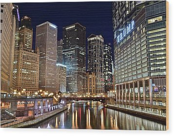 River View Of The Windy City Wood Print by Frozen in Time Fine Art Photography