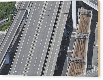Road And Rail Intersection Wood Print by Andy Smy