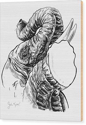 Roaring Elephant Wood Print by John Keaton