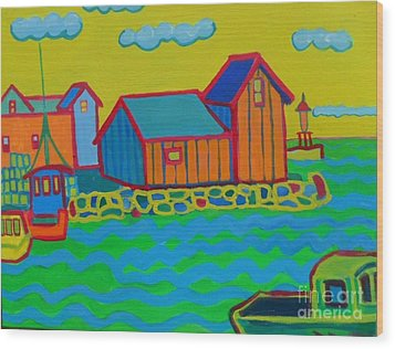 rockport Motif Wood Print by Debra Robinson
