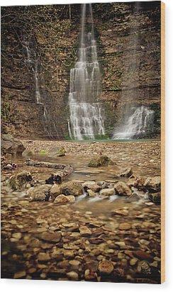Rocks And Waterfalls Wood Print by Iris Greenwell