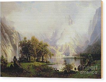 Rocky Mountain Landscape Wood Print by Albert Bierstadt
