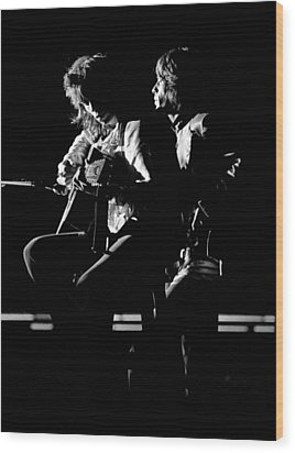 Rolling Stones 1970 Mick And Keith Live Wood Print by Chris Walter