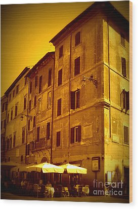 Roman Cafe With Golden Sepia 2 Wood Print by Carol Groenen