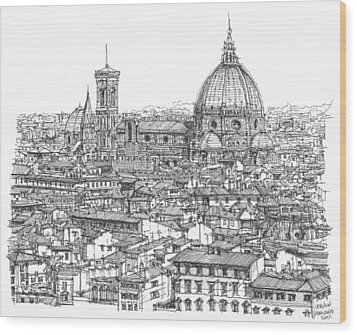 Romantic Florence Skyline In Ink Wood Print by Building  Art