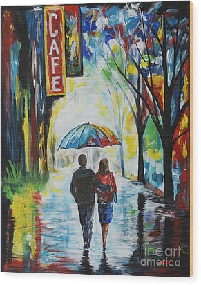 Romantic Night Out Wood Print by Leslie Allen