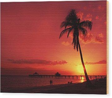 Romantic Sunset Wood Print by Melanie Viola