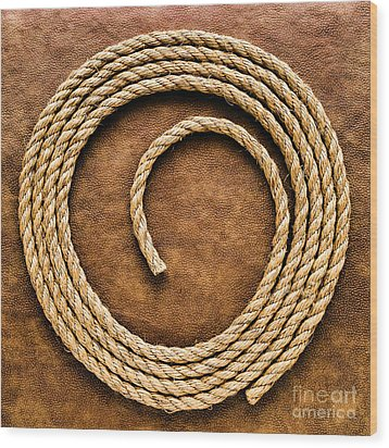 Rope On Leather Wood Print by Olivier Le Queinec