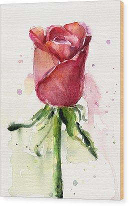 Rose Watercolor Wood Print by Olga Shvartsur