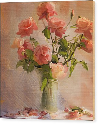 Roses La Belle Wood Print by Linde Townsend