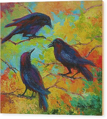 Roundtable Discussion - Crows Wood Print by Marion Rose