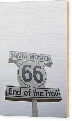 Route 66 Santa Monica- By Linda Woods Wood Print by Linda Woods