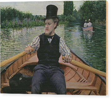 Rower In A Top Hat Wood Print by Gustave Caillebotte