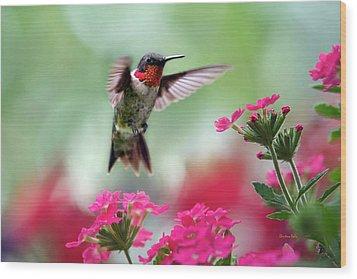 Ruby Garden Jewel Wood Print by Christina Rollo