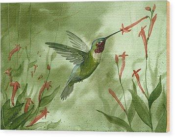 Ruby Throated Hummingbird Wood Print by Sean Seal