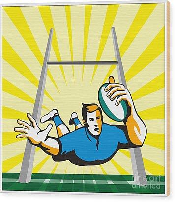 Rugby Player Try Wood Print by Aloysius Patrimonio