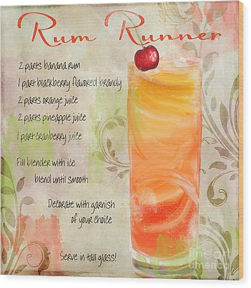 Rum Runner Mixed Cocktail Recipe Sign Wood Print by Mindy Sommers