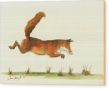 Running Fox Wood Print by Juan  Bosco