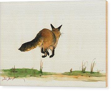 Running Fox Painting Wood Print by Juan  Bosco