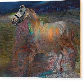 Running Horse Wood Print by Henriette Tuer lund