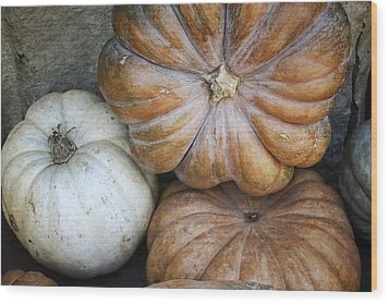 Rustic Pumpkins Wood Print by Joan Carroll