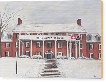 Sae Fraternity House At Uofa Wood Print by Tansill Stough