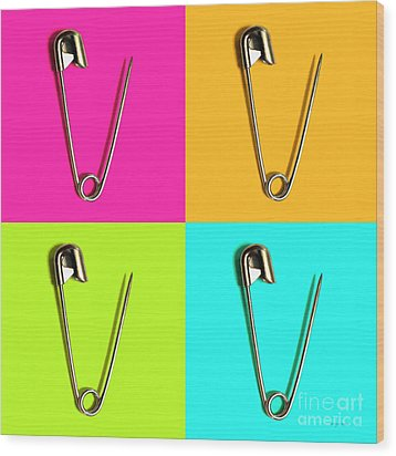 Safety Pin Pop Art Four 20161112 Wood Print by Wingsdomain Art and Photography