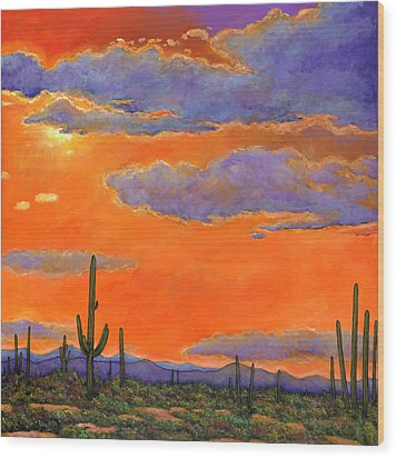 Saguaro Sunset Wood Print by Johnathan Harris
