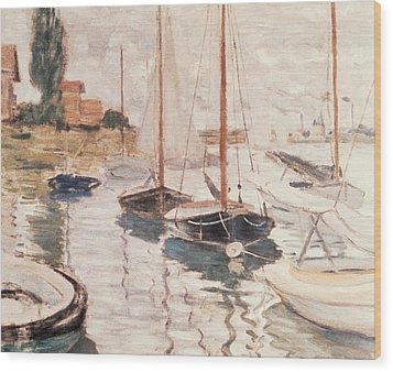 Sailboats On The Seine Wood Print by Claude Monet