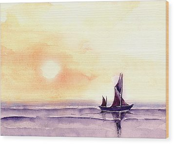 Sailing Wood Print by Anil Nene