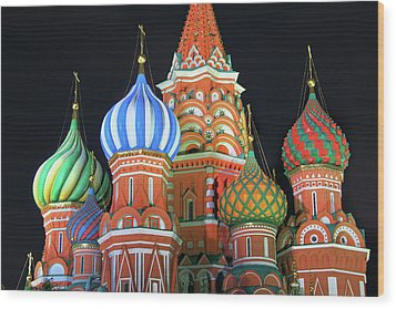 Saint Basils Cathedral On Red Square, Moscow Wood Print by Lars Ruecker