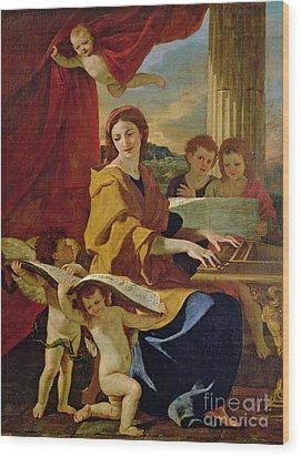 Saint Cecilia Wood Print by Nicolas Poussin