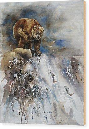 Salmon Run Wood Print by Mary McCullah