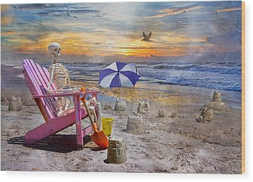 Sam's  Sandcastles Wood Print by Betsy Knapp