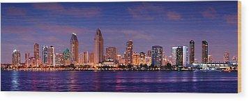 San Diego Skyline At Dusk Wood Print by Jon Holiday