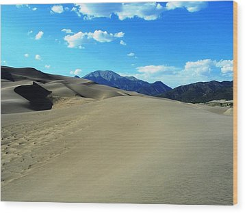 Sand And Mountains Wood Print by Peter  McIntosh